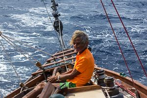 Roy on Guiding Light, Single Handed Race, Off English Harbor, Antigua