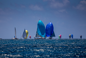 The race fleet bearing down on the leeward mark. Antigua Race Week, Antigua