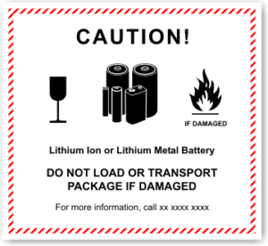 Lithium Ion Battery Warning Label.